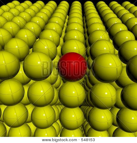 Yellow Field With Singular 3d Red Ball