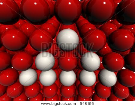 Red 3d Balls Field With White Triangle Sign