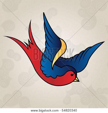 Tattoo style swallow, old school