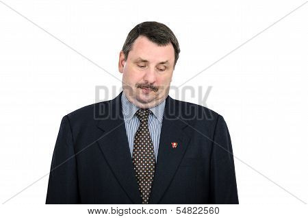 Man With Double Chin Looks At The Communist Pin