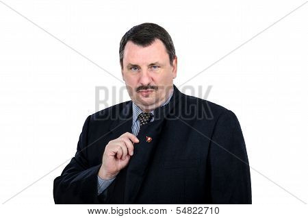 Gloomy Man Shows Communist Pin