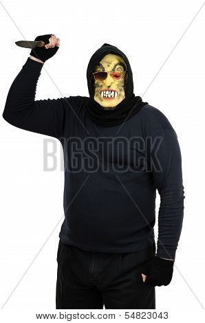 Maniac in a mask waves a big kitchen knife poster