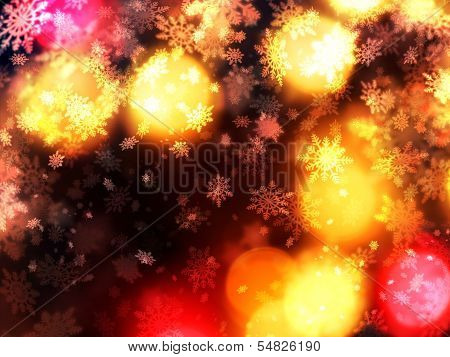 Warm Christmas Light Shaft Snowflakes Background