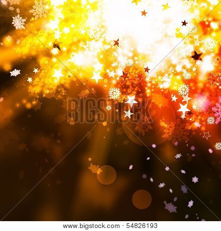 Gold Elegant Xmas Abstract Background With Lights And Stars
