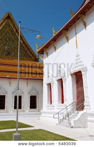 Wat Mahathat Yuwaratharangsarit Ratchaworamahawihan near Sanam Luang in Bangkok Thailand. The temple a royal temple of the first grade is situated to the north of the Royal Palace. It was built in the Ayutthaya period and called Wat Salak. King Rama I ren poster