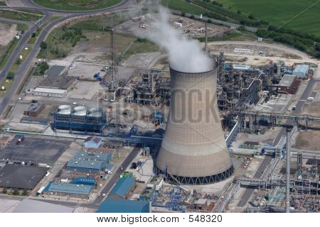 Aerial Of A Gas Fired Power Station