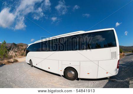 Bus On Mountain Road