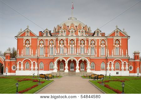 The facade of the luxury Petroff Palace a neogothic style in Moscow