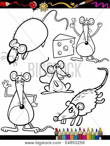 Coloring Book or Page Cartoon Illustration Set of Black and White Rodent Animals like Mice and Rats Mascot Characters for Children poster
