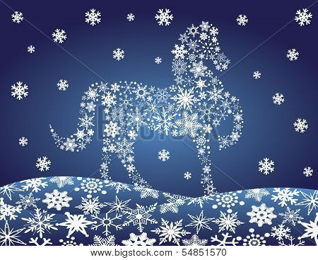 2014 Chinese Lunar New Year of the Horse Forward Pose Silhouette with Snowflakes Pattern on Night Winter Snow Scene Background Illustration poster