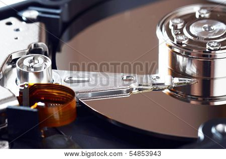 Disassembled Pc Hard Disc Close-up