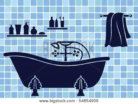 Blue bathroom interior
