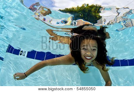 Girl Smiling Underwater
