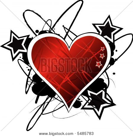 Grunge Vector Heart With Stars