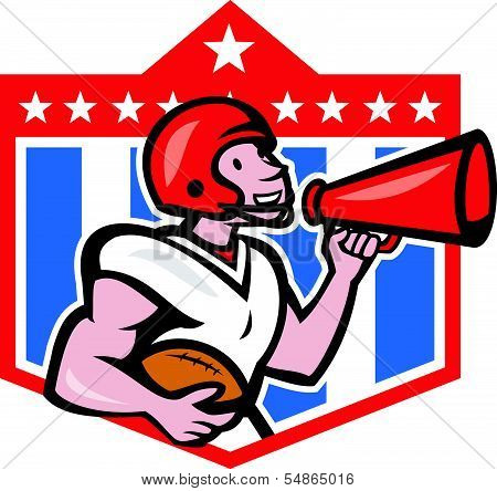 American Football Quarterback Bullhorn C Artoon