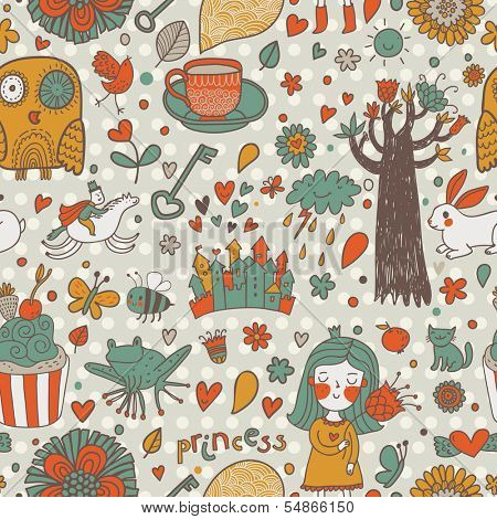 Gentle fairytale seamless pattern with little princess, horse, magic tree, castle, frog, key, cake. Sweet vector background can be used in birthday design, children bedroom.