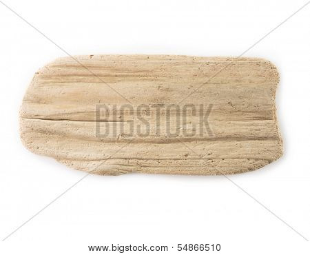 Flat piece of driftwood isolated on white.