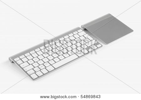 Wireless Computer Keyboard And Trackpad Isolated On White Background