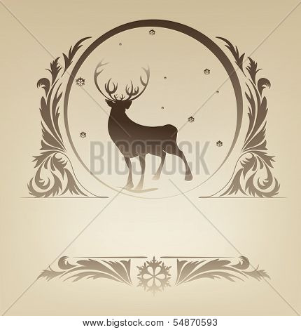 Christmas standing raindeer background rich ornament