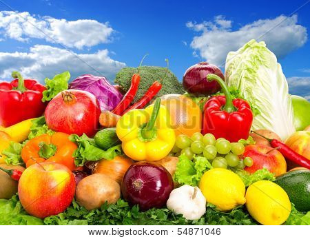 Various fruits and vegetables. Food set. Close-up photo.