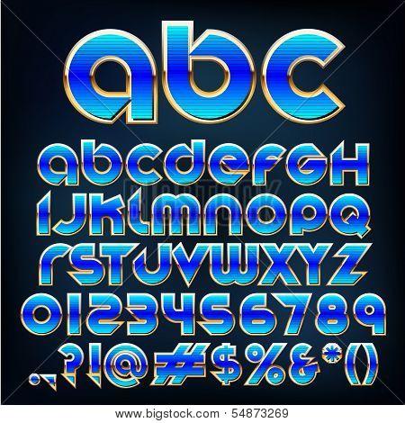 Vector Blue Metallic Font