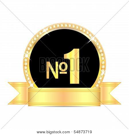 Medal With Number One And Golden Ribbon Isolated On White Background.award In Gold With Brilliant St
