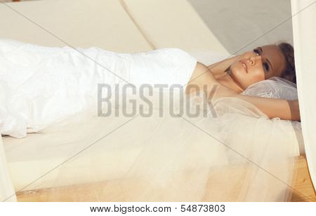 beautiful and young bride with blond hair poster