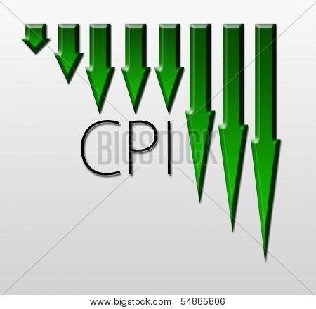 Chart Illustrating Cpi Drop, Macroeconomic Indicator Concept