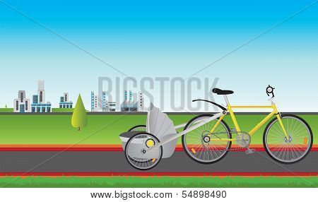 Illustration of a bicycle in front of the city