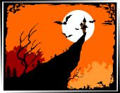 Illustration of Halloween in orange colour background poster