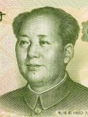 Mao Tse-Tung on 1 Yuan 1999 Banknote from China. Chinese communist leader during 1949-1976. poster