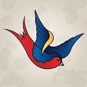 Vector eps- 10. Tattoo style swallow, old school poster