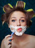 Girl shaving face  poster