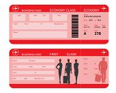 Vector image of airline boarding pass tickets with barcode and flight attendant silhouettes poster
