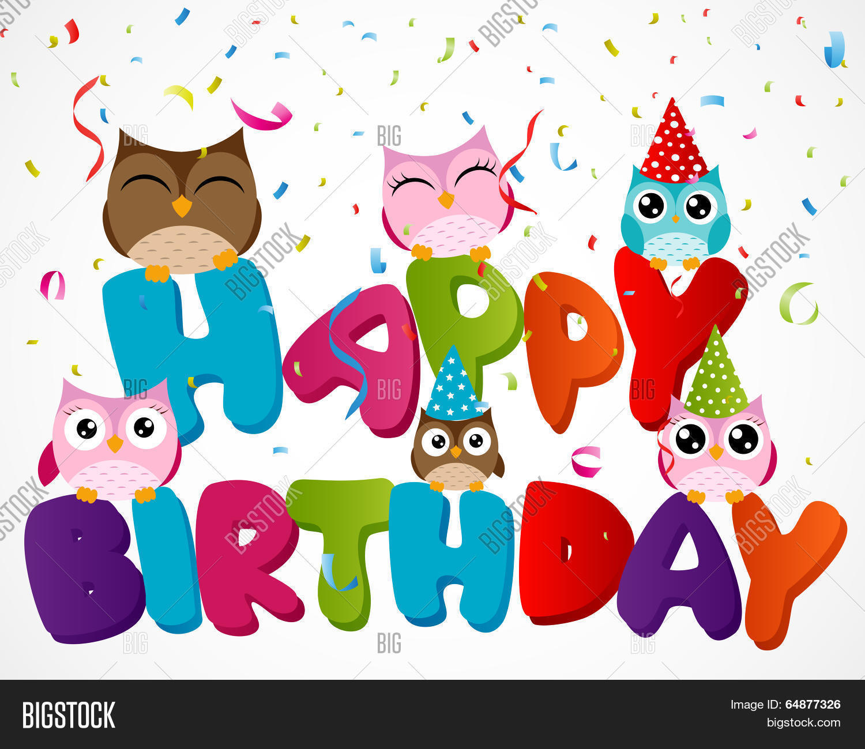 64877326 happy birthday card owl vector & photo bigstock