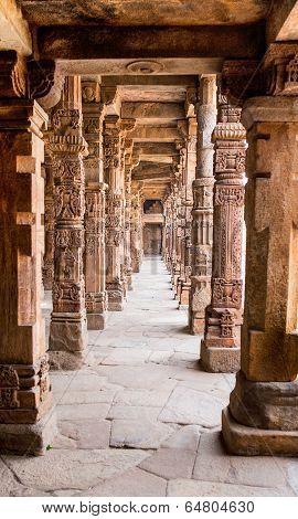 Sandstone columns at Qutab Minar, Delhi, India poster