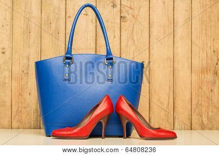 Woman Accessories On Wood Background