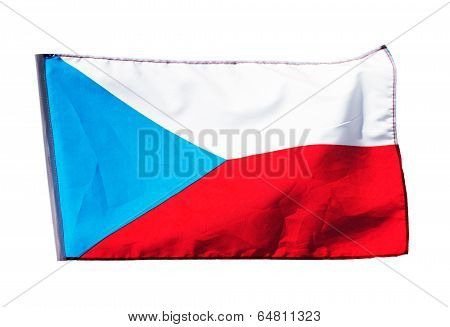Czech Flag In  Wind On A White Background