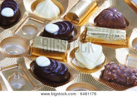 Horizontal shot of chocolate box