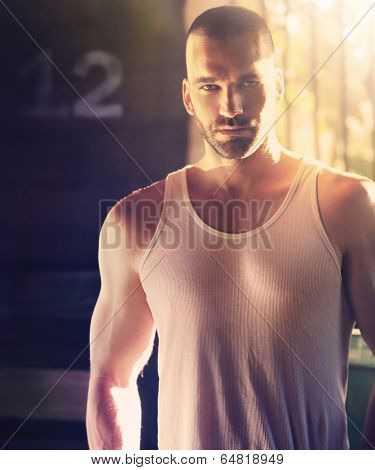 Sexy portrait of masculine man with shaved head in hard dramatic light and shadow poster
