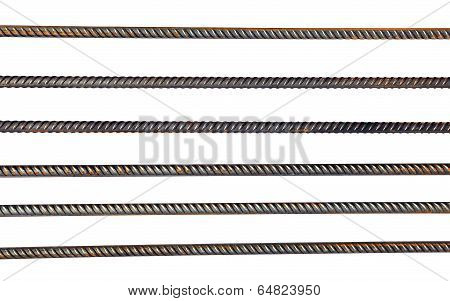 The lattice of parallel reinforcing steel rods isolated on white background poster