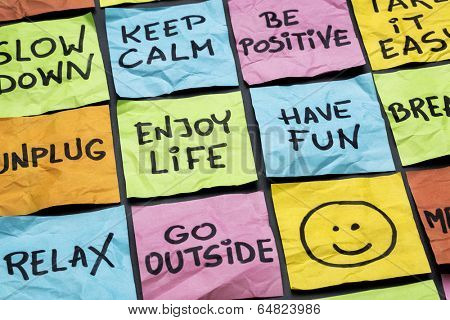 relax, keep calm, enjoy life and other motivational lifestyle reminders on colorful sticky notes poster