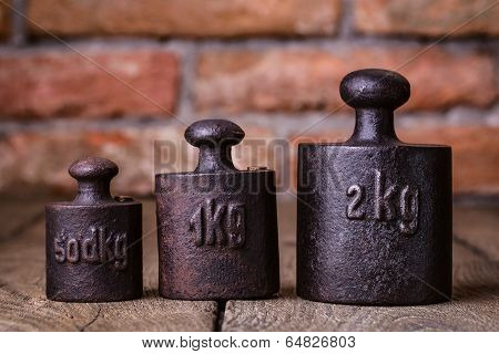Vintage iron weights.