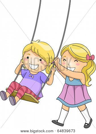 Illustration of a Little Girl Pushing Her Sister on a Swing
