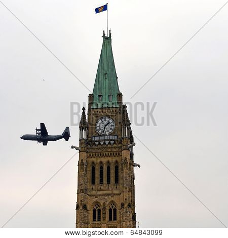 Canadian Aircraft Used In Afghanistan Flies By Peace Tower