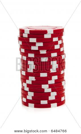 A Stack Of Red Poker Chips On White