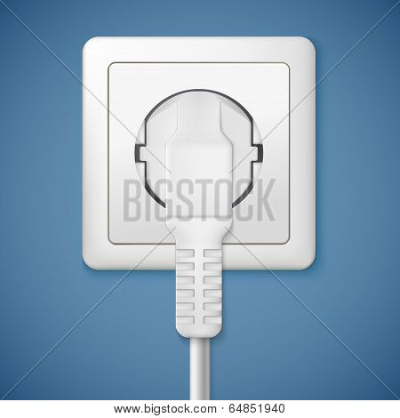Electrical outlet with plug. Close-up power plug plugged in a socket poster