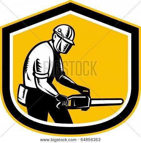 Lumberjack Operating Chainsaw Shield Retro