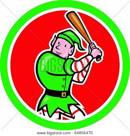 Elf Baseball Player Bat Circle Cartoon