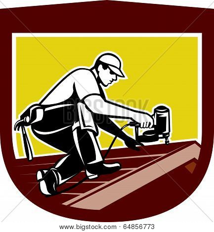 Roofer Roofing Worker Crest Shield Retro